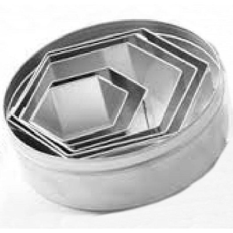 Set 6 Coppapasta In Metallo Esagonali Lisci Pavoni