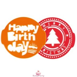 Stencil per torta happy birthday e christmas 2 pz Pavoni