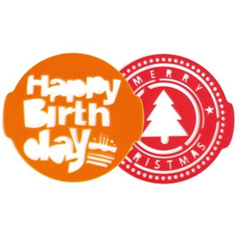 Stencil per torta happy birthday e christmas 2 pz Pavoni