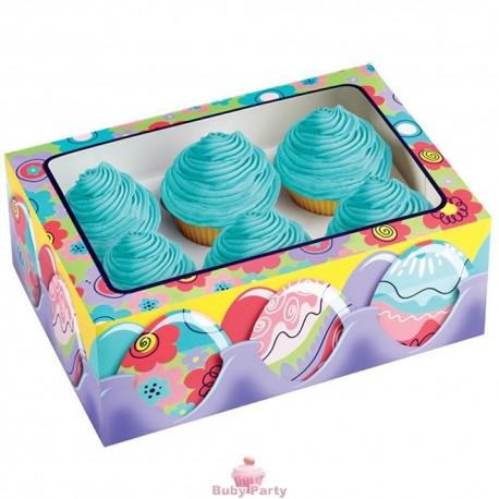 Scatola per confezionare cupcake con fantasie pasquali 6 cavità
