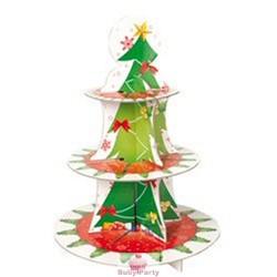 Alzatina albero di Natale porta muffin e cupcake a 3 piani in cartoncino