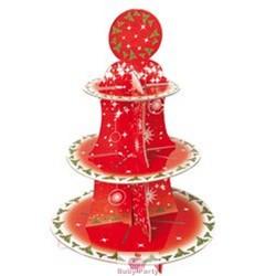 Alzatina natalizia porta muffin e cupcake a 3 piani in cartoncino