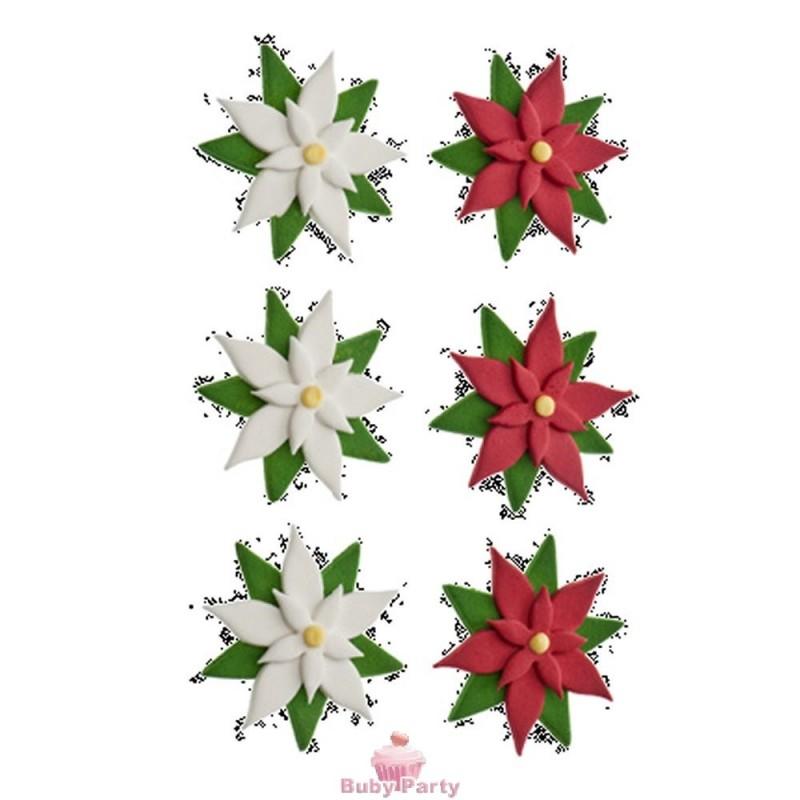 6 stelle di natale in zucchero decora buby party store - Decorazioni stelle di natale ...