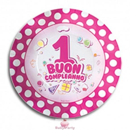 Piattini buon primo compleanno rosa 10 pz