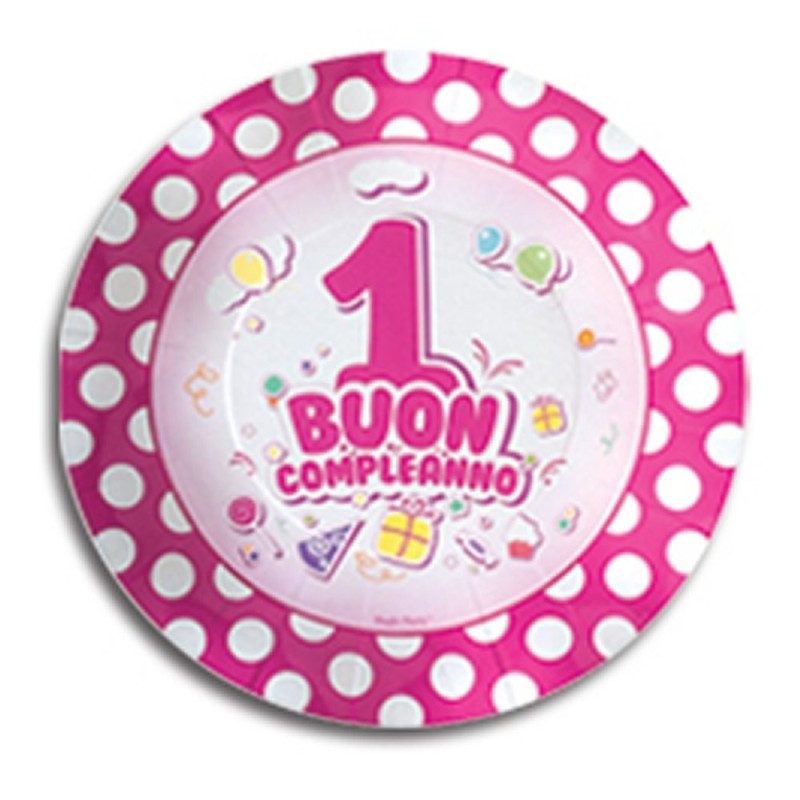 10 Piattini Buon Primo Compleanno Rosa Magic Party