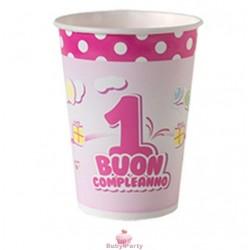 Bicchieri buon primo compleanno rosa 10 pz