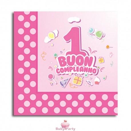Tovaglioli buon primo compleanno rosa 20 pz