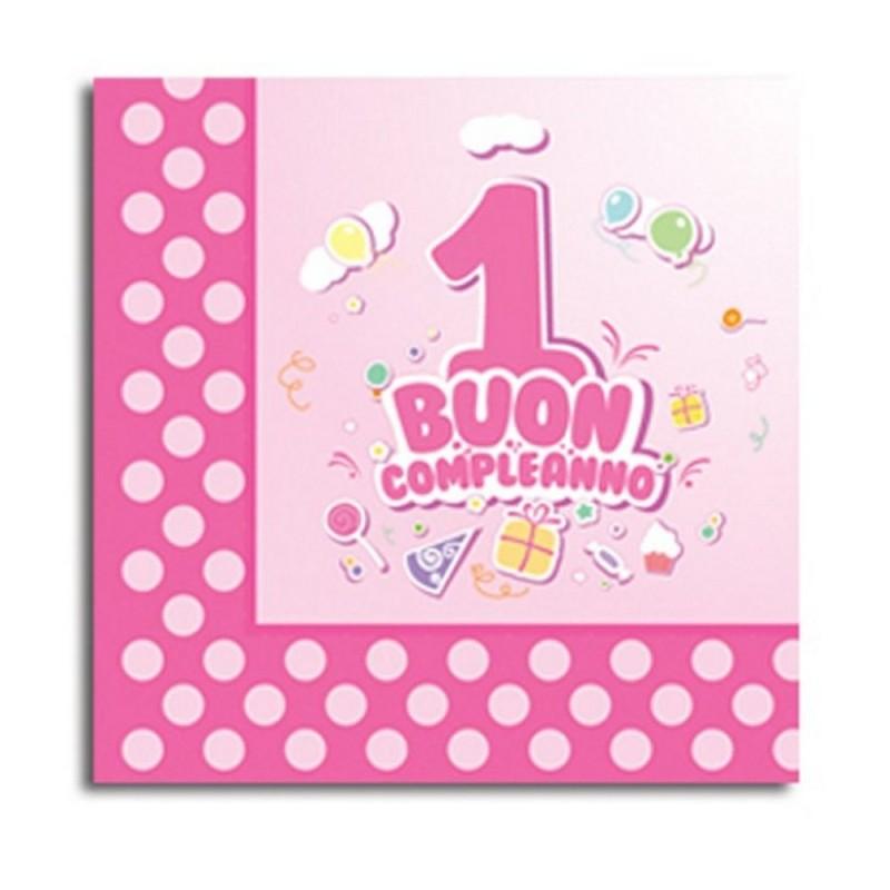 20 Tovaglioli Buon Primo Compleanno Rosa Magic Party