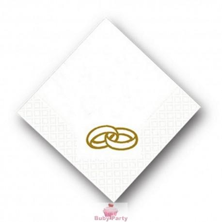 Tovagliolini bianchi con fedi oro per matrimonio 20 pz