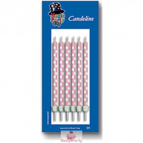 Candeline torta pois rosa 6 pz Magic Party
