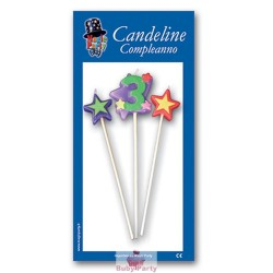 Candeline Numero 3 Multicolore Magic Party