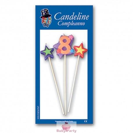 Candeline numero 8 multicolore Magic Party