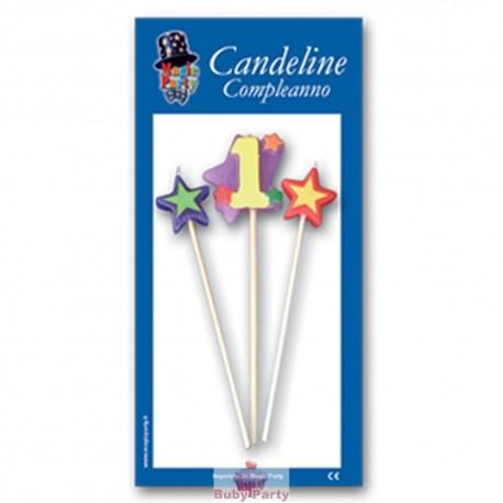 Candeline numero 1 multicolore Magic Party