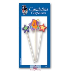 Candeline Numero 4 Multicolore Magic Party