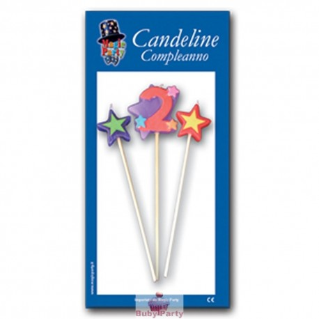 Candeline numero 2 multicolore Magic Party