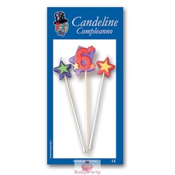 Candeline Numero 6 Multicolore Magic Party