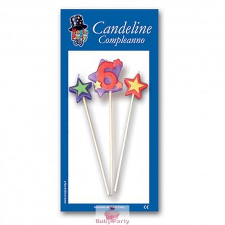 Candeline numero 6 multicolore Magic Party