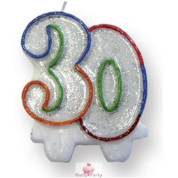 Candela Glitterata Per Torta 30 Anni Magic Party