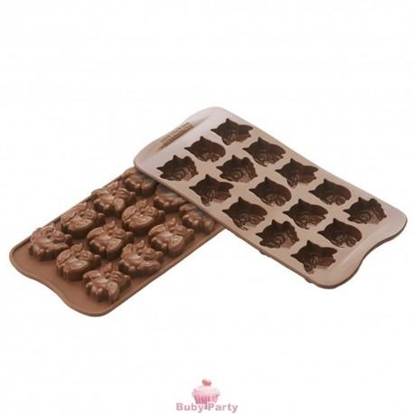 Stampo in silicone gufi in cioccolo Silikomart
