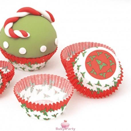 Pirottini per muffin e cupcake agrifoglio natalizio 75 pz