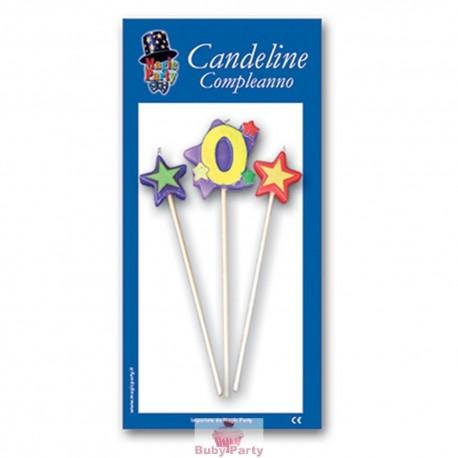 Candeline numero 0 multicolore Magic Party