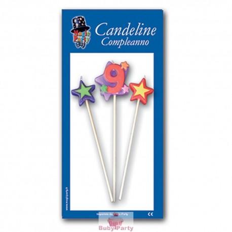 Candeline numero 9 multicolore Magic Party