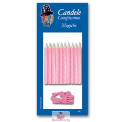 10 Candeline Magiche Per Torta Colore Rosa Magic Party