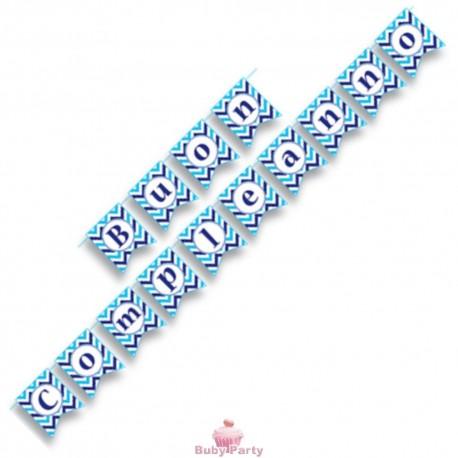 Festone coda Buon compleanno blu Magic Party