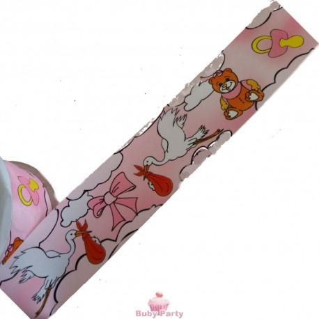 Nastro Nascita rosa per torta e confezionamento in pvc 5 mt WFD