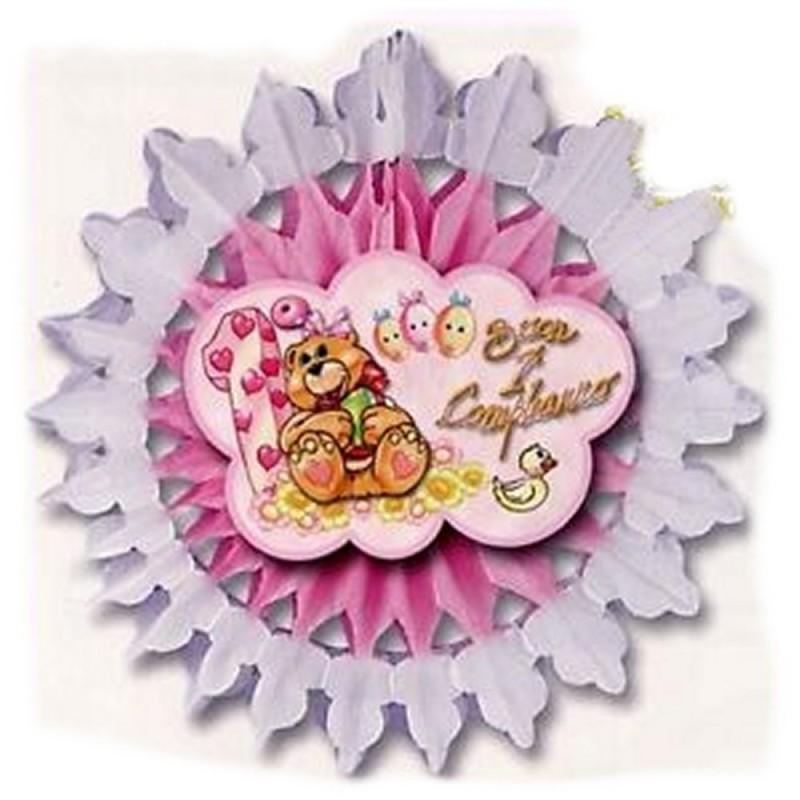 Festone Ruota Buon 1° Compleanno Rosa Magic Party