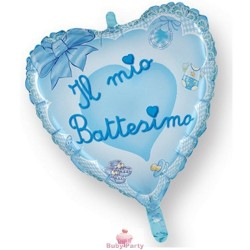 Pallone Mylar Battesimo Celeste A Forma Di Cuore Ø 80 cm Magic Party