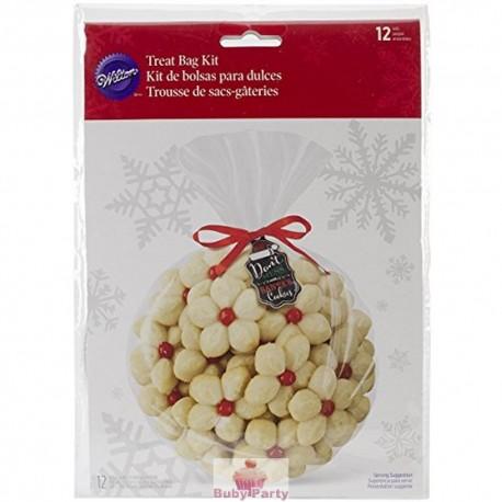 Sacchetti porta dolcetti natalizi 12 pz Wilton