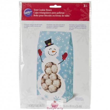 Set 3 scatole portabiscotti natalizi Pupazzo di Neve Wilton