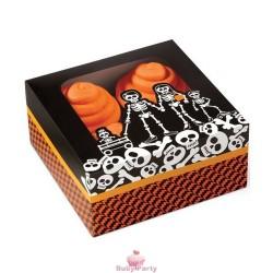 3 Scatole con scheletri porta dolcetti Halloween Wilton