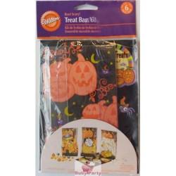 6 Sacchetti porta dolcetti di Halloween con Zucca Wilton