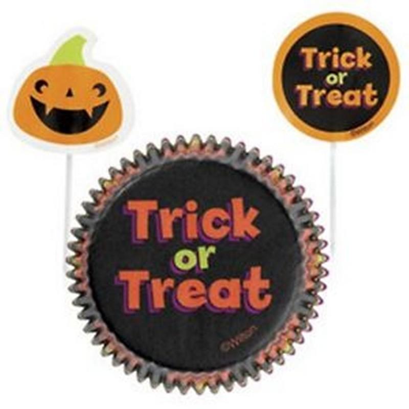 24 Pirottini Muffin Con Pick Zucca Halloween Wilton
