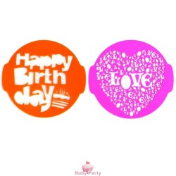 Stencil per torta happy birthday e love 2 pz