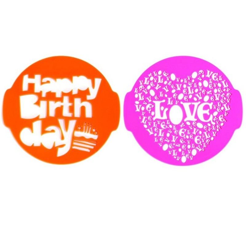 Set 2 Stencil Per Torta Happy Birthday E Love