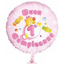 Palloncino Mylar Buon 1° Compleanno Rosa Ø 55 cm Party&Co