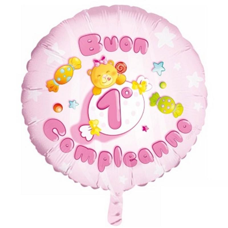 Palloncino Mylar Buon 1° Compleanno Rosa Ø 55 cm Party&Co