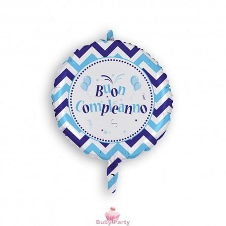 Palloncino Mylar Buon Compleanno chevron Celeste 45 cm