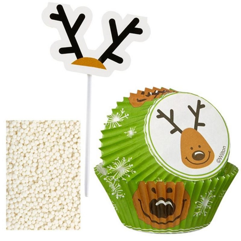 Kit Decorazioni Cupcake Renne di Natale 48 pz Wilton