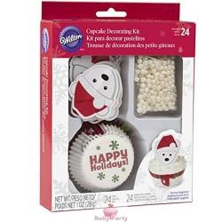 Kit Decorazioni Cupcake Orso Polare Natalizio 48 pz Wilton