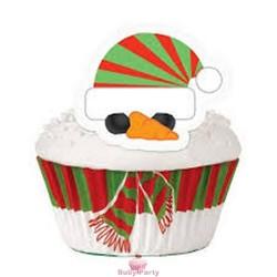 Kit Decorazioni Cupcake Pupazzo di Neve Natalizio 48 pz Wilton