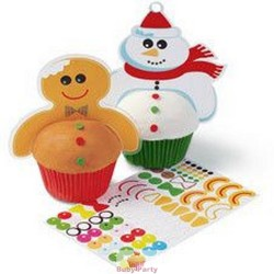 12 Pick In Plastica Gingerbread E Pupazzo Di Neve Wilton