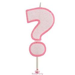 Candela Per Torta Forma Punto Interrogativo Glitterato Rosa Modecor