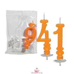 Candela Numero Arancione Per Torta di Compleanno