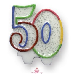 Candela Glitterata Per Torta 50 Anni Magic Party