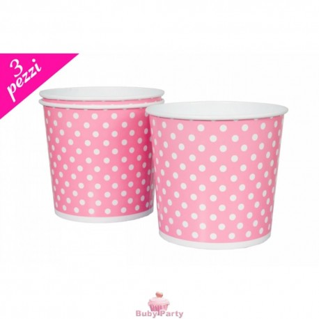 Set 3 Cesti Per Pop Corn In Cartoncino Rosa Pois