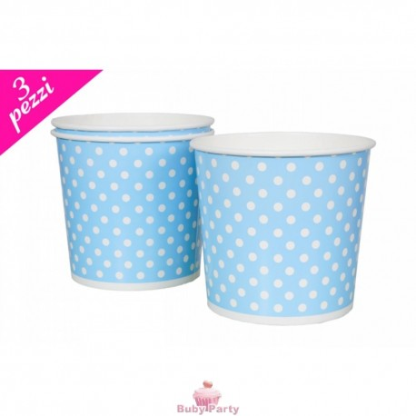 Set 3 Cesti Per Pop Corn In Cartoncino Celeste Pois